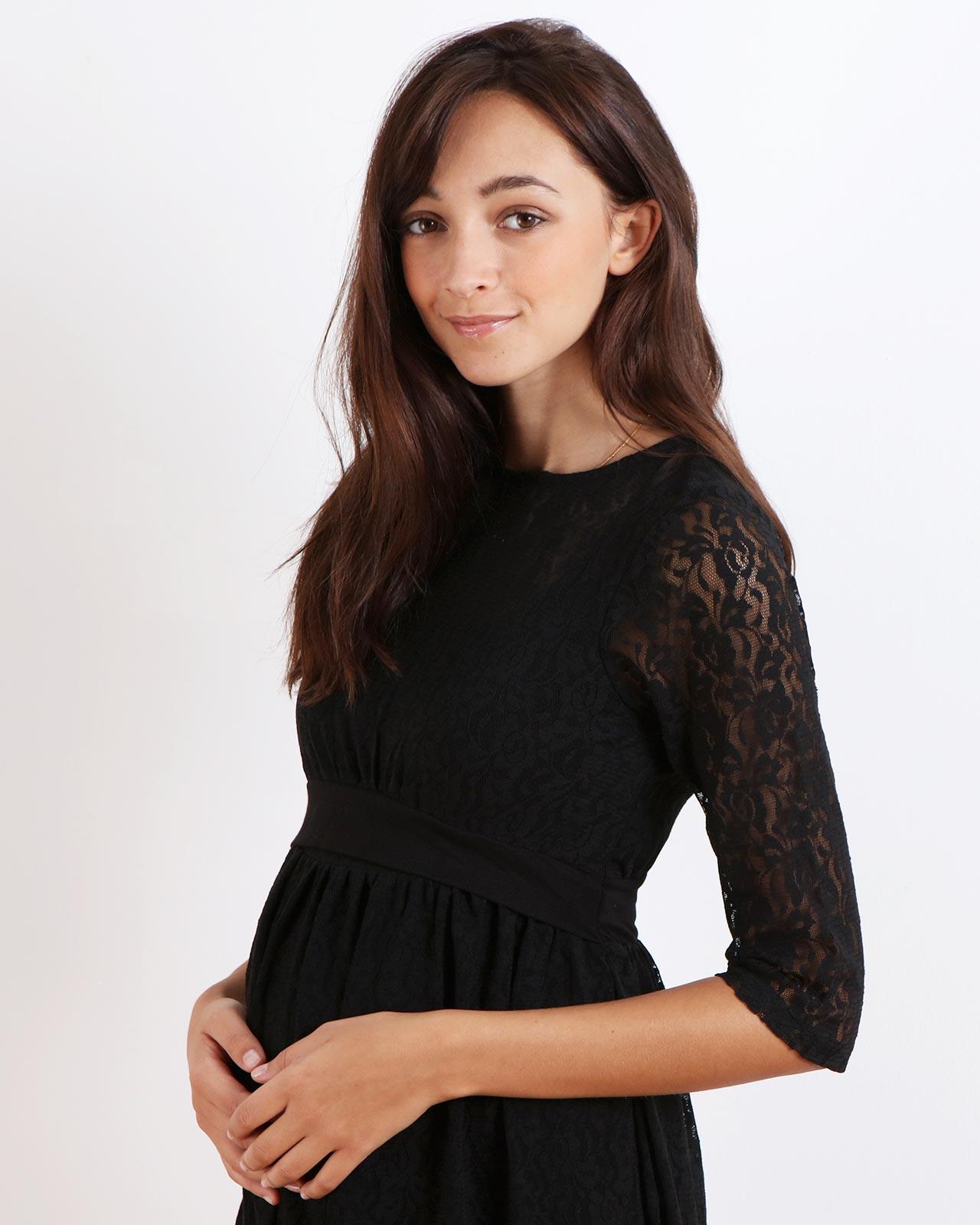 Robe de grossesse et d'allaitement habillée en dentelle noire (4)